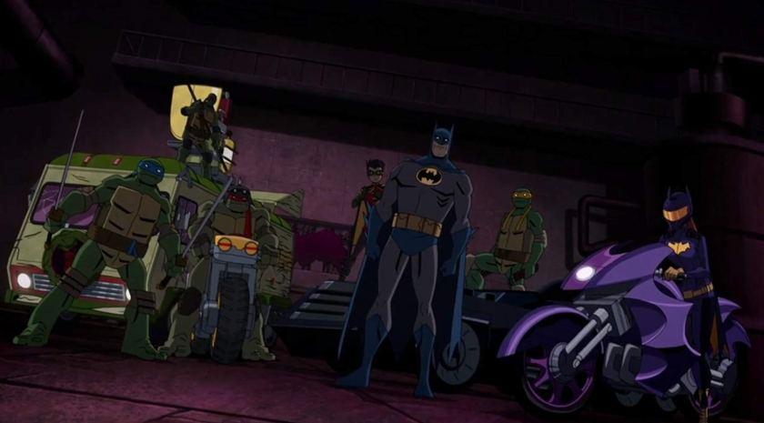 Batman Vs Tmnt 2019 batman aux cotés de son équipe et des tortues ninjas