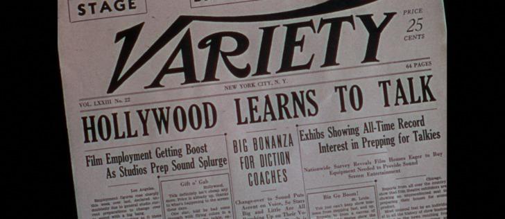 Chantons sous la pluie 1952 coupure de journal annoncant l'arrivée du cinéma parlant