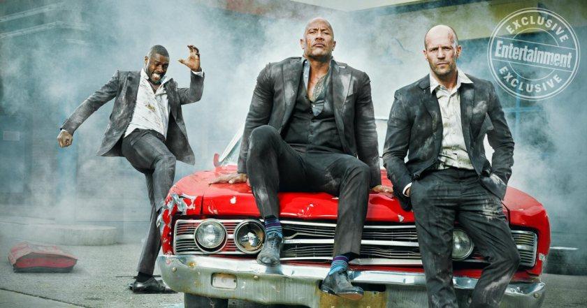 Hobbs and Shaw promo entertainment weekly Dwayne Johnson Jason Statham Idris Elba