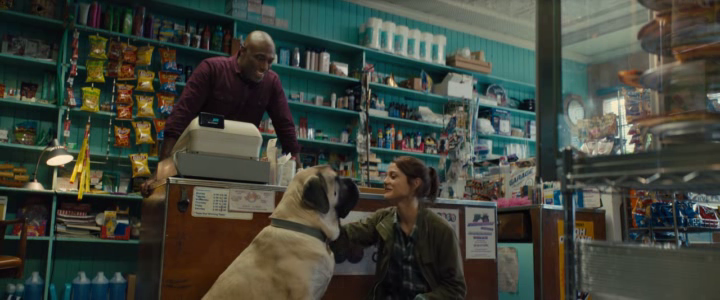 Mes autres vies de chien 2019 C.J dans une station service caresse un chien sous les yeux du caissier