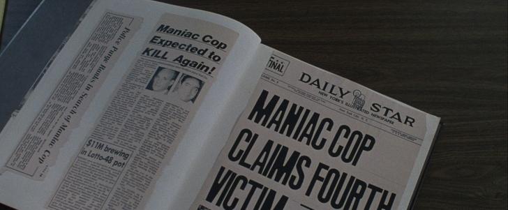 Maniac Cop 1 coupure de journal