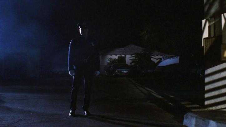 Maniac Cop 1 silhouette imposante du maniac cop pendant la nuit