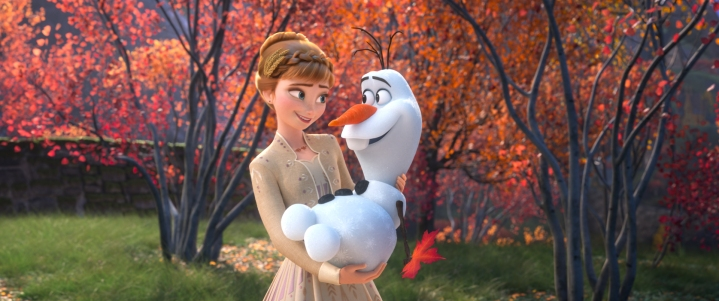 "SOME THINGS NEVER CHANGE – In ""Frozen 2,"" Anna's positive spirit is reflected in a song she begins in an effort to assuage Olaf's uncertainty about the ever-evolving world around him. The song, ""Some Things Never Change,""—which features Anna, Olaf, Elsa and Kristoff —introduces the idea of change to the story, and despite its title, it's also a promise that change is on the horizon. Featuring the voices of Kristen Bell, Josh Gad, Idina Menzel and Jonathan Groff, Walt Disney Animation Studios' ""Frozen 2"" opens in U.S. theaters on Nov. 22, 2019. © 2019 Disney. All Rights Reserved."