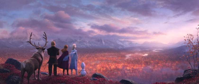 la reine des neiges 2 Sven, Kristoff, Anna, Elsa et Olaf arrivent à la forêt enchantée
