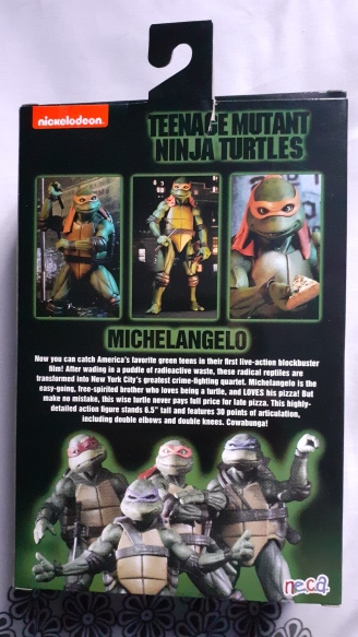 TEENAGE MUTANT NINJA TURTLE ACTION FIGURE MICHELANGELO Neca arriere de la boite