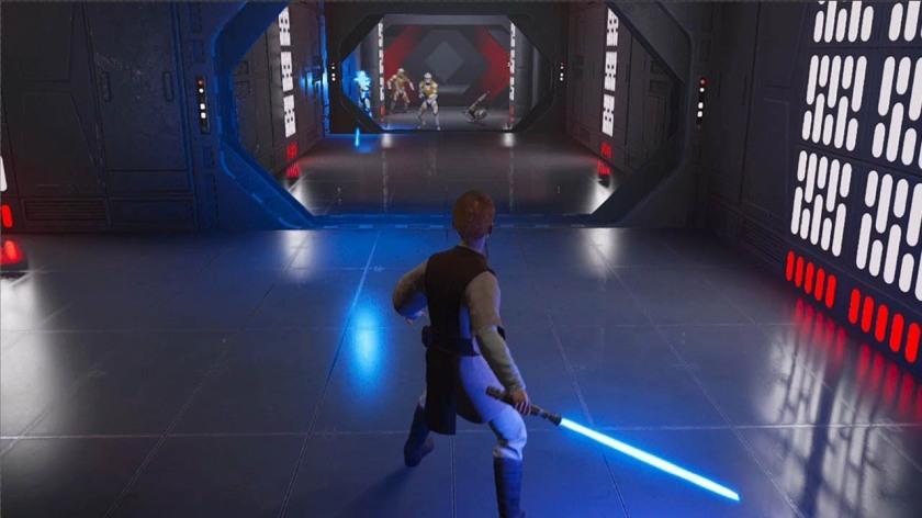 star wars jedi fallen order cal kestis encore enfant tentant d'échapper aux stormtroopers désormais sous le controle de Palpatine