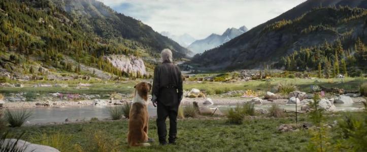 L'appel de la forêt John Thornton admirant le paysage aux cotés de son chien Buck