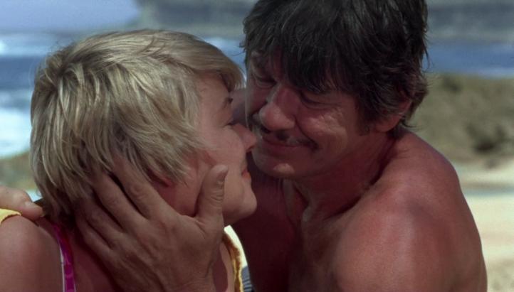 Un-justicier-dans-la-ville-homme-moustachu-torse-nu-embrassant-sa-femme-en-bikini-sur-le-sable