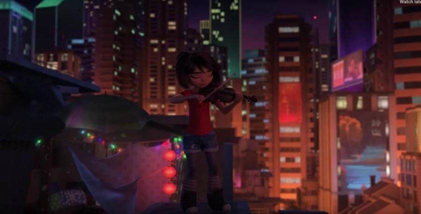 Abominable-dreamworks-jeune-gille-chinoise-jouant-du-violon-la-nuit-sur-le-toit-d'un-immeuble