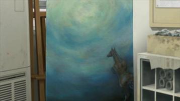 Colorful-tableau-d'un-cheval-courant-vers-une-lumière
