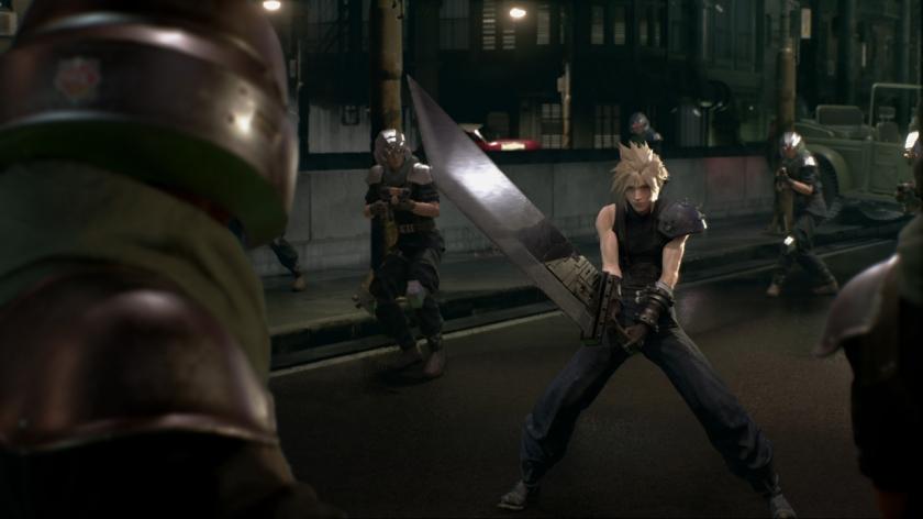 ff7-remake-cloud-encerclé-par-des-soldats-s'apprête-à-les-affronter-à-l'épée