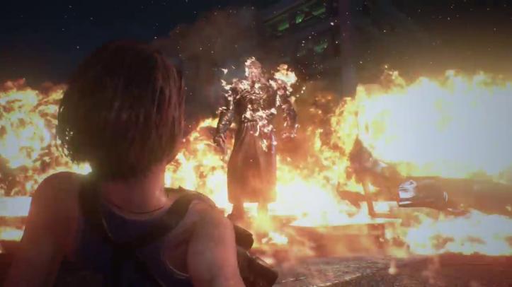 Resident-evil-3-remake-jill-à-terre-face-au-nemesis-en-flamme