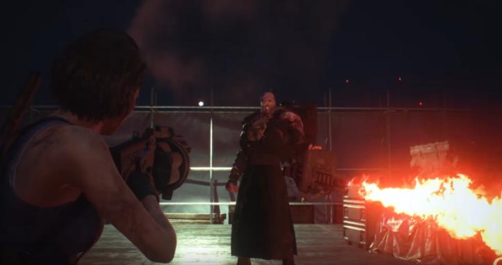 resident-evil3-remake-jill-vise-au-lance-grenades-le-nemesis-utilisant-son-lance-flammes