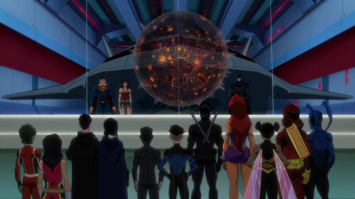 justice-league-dark-apokolips-war-superman-wonderwoman-batman-face-aux-teen-titans-devant-un-hologramme-d'apokolips
