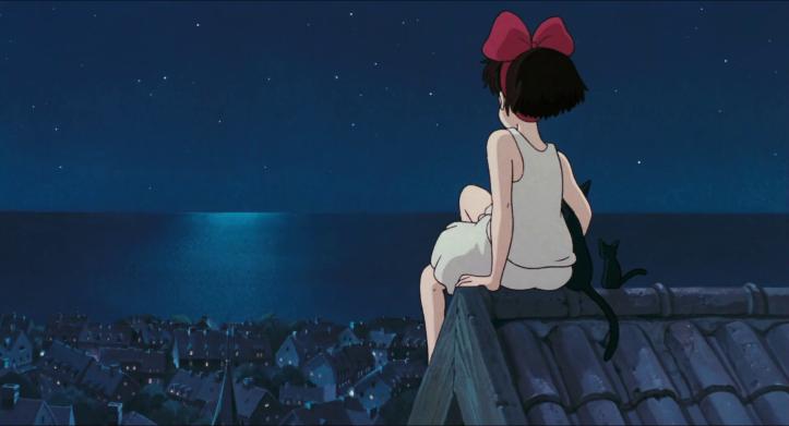 Kiki-la-petite-sorcière-kiki-et-jiji-assis-sur-un-toit-la-nuit