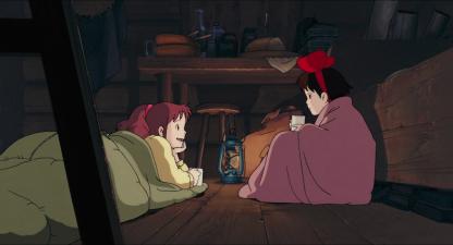 Kiki-la-petite-sorcière-kiki-et-ursula-discutent-dans-leur-sac-de-couchage