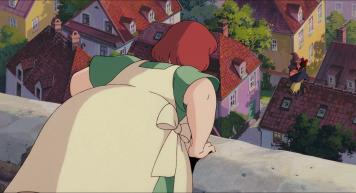 Kiki-la-petite-sorcière-osono-se-penche-sur-le-parapet-d'un-escalier-pour-voir-kiki-voler-sur-son-balai