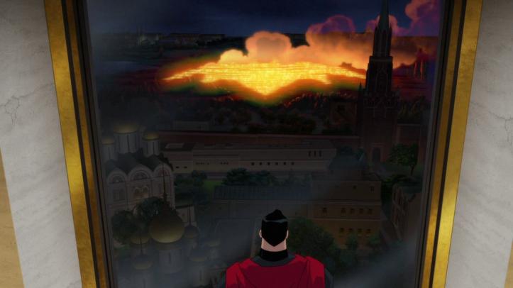 Superman-red-son-superman-regarde-de-sa-fenêtre-un-quartier-en-flamme