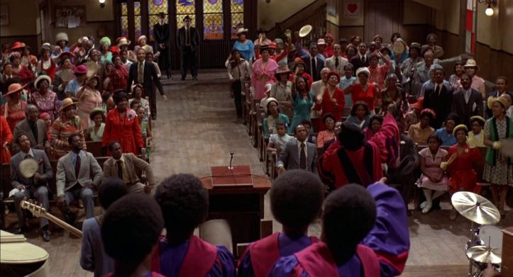 Les-Blues-Brothers-Elmood-et-jake-assistent-à-chant gospel-dans-une-église