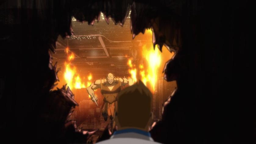 Mortal-kombat-legends-scorpion's-revenge-baraka-foncant-dans-le-trou-d'un-mur-pour-attaquer-johnny-cage
